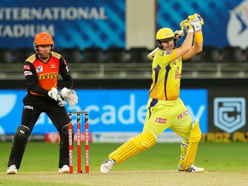 Shane Watson of Chennai Super Kings plays a shot.
