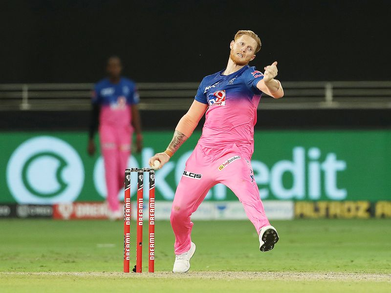 Ben Stokes of Rajasthan Royals bowls during the match.