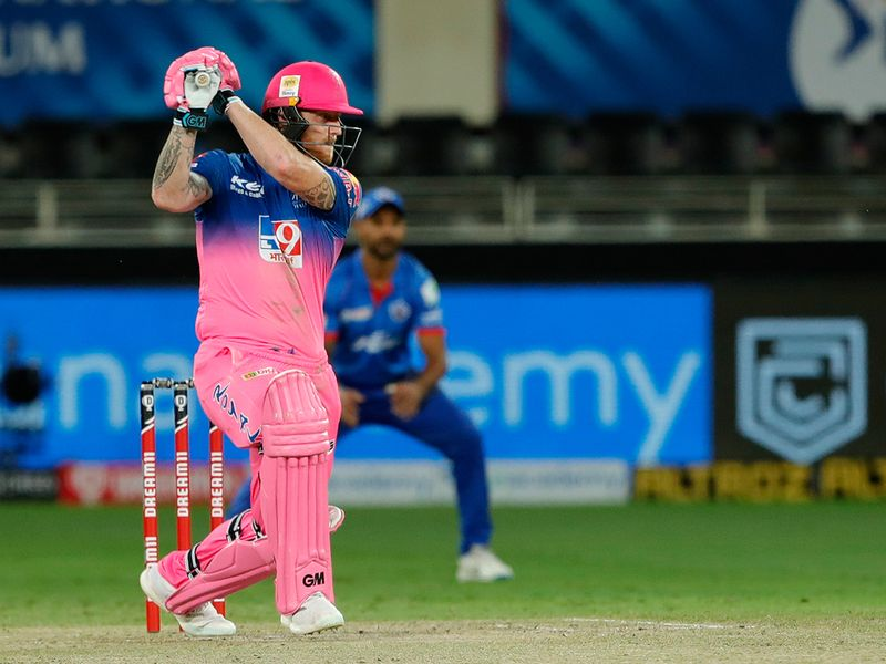 Ben Stokes of Rajasthan Royals plays a shot.