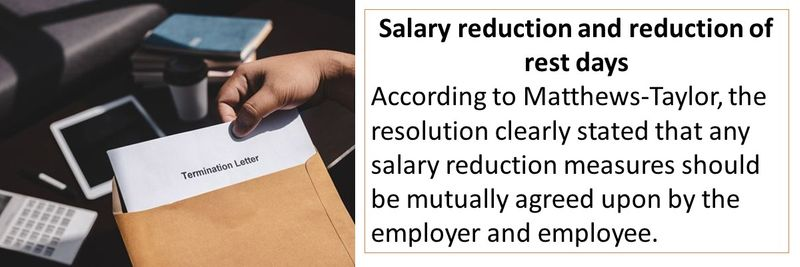 According to Matthews-Taylor, the resolution clearly stated that any salary reduction measures should be mutually agreed upon by the employer and employee.
