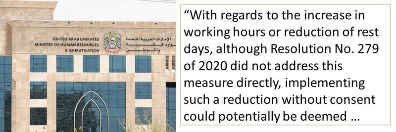 """""""With regards to the increase in working hours or reduction of rest days, although Resolution No. 279 of 2020 did not address this measure directly, implementing such a reduction without consent could potentially be deemed."""