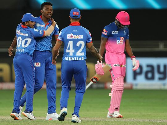 Delhi Capitals players celebrats the wicket of Jofra Archer of Rajasthan Royals.