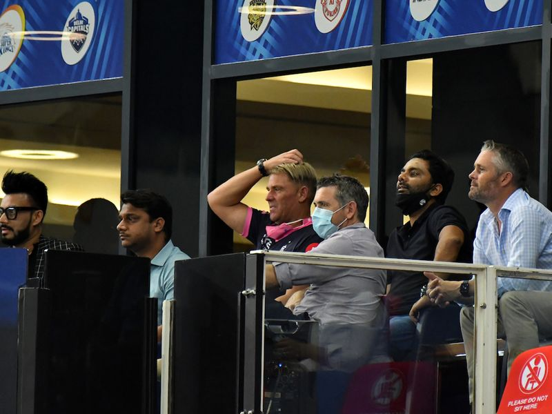 Former Australian legend Shane Warne spooted at the Royal Box watching match 30 of season 13 of the Dream 11 Indian Premier League (IPL) between the Delhi Capitals and the Rajasthan Royals held at the Dubai International Cricket Stadium, Dubai in the United Arab Emirates on the 14th October 2020. Photo by: Samuel Rajkumar / Sportzpics for BCCI