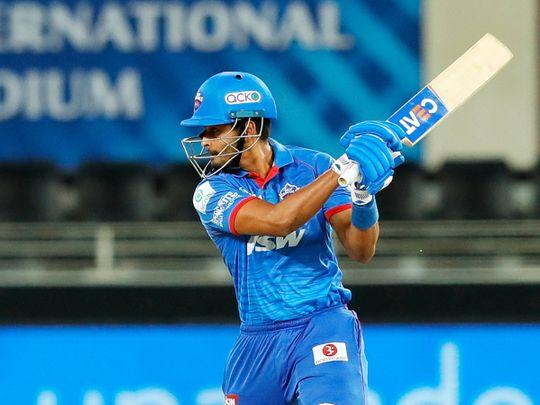 Shreyas Iyer, captain of Delhi Capitals, plays a shot.