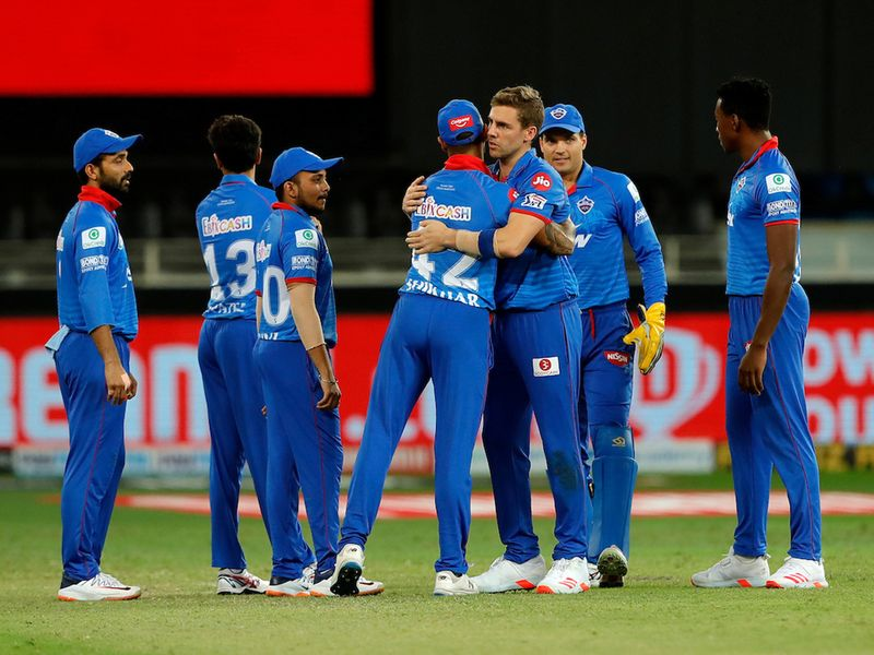 The Delhi Capitals celebrates the wicket of Robin Uthappa of Rajasthan Royals during match 30 of season 13 of the Dream 11 Indian Premier League (IPL) between the Delhi Capitals and the Rajasthan Royals held at the Dubai International Cricket Stadium, Dubai in the United Arab Emirates on the 14th October 2020. Photo by: Saikat Das / Sportzpics for BCCI