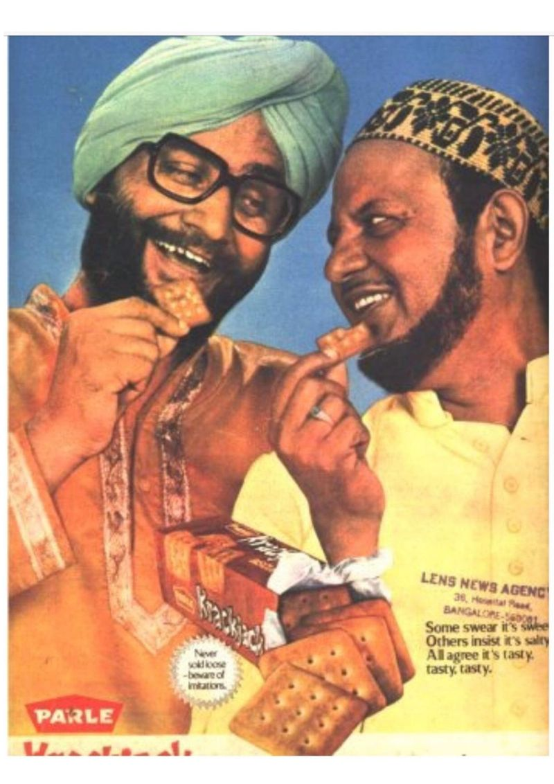 A Krackjack ad in the 1980s extolled inter-faith harmony in India.