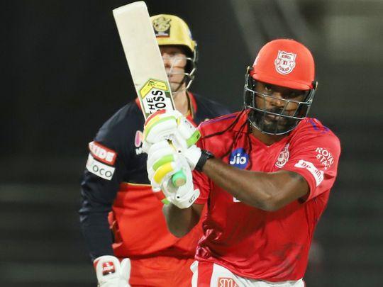 Chris Gayle of Kings XI Punjab plays a shot.