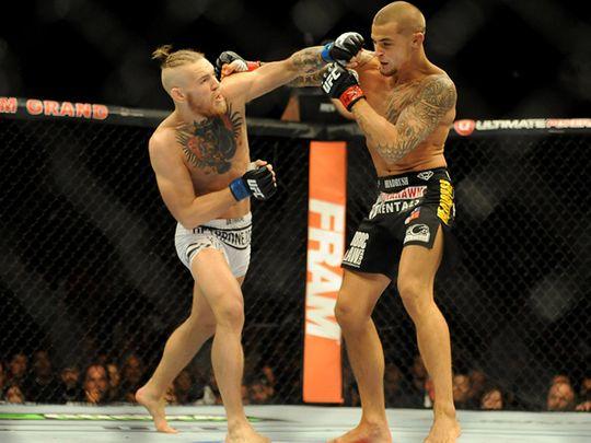 Conor McGregor fights Dustin Poirier  in Las Vegas in 2014