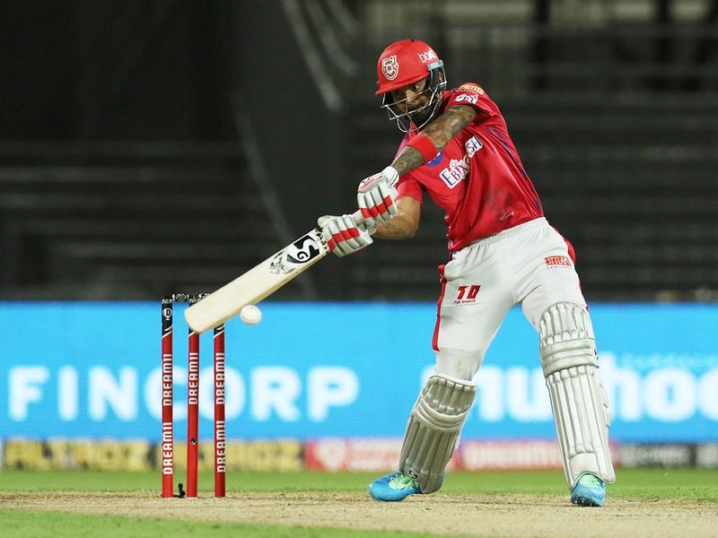 Kings XI Punjab skipper KL Rahul plays a shot.