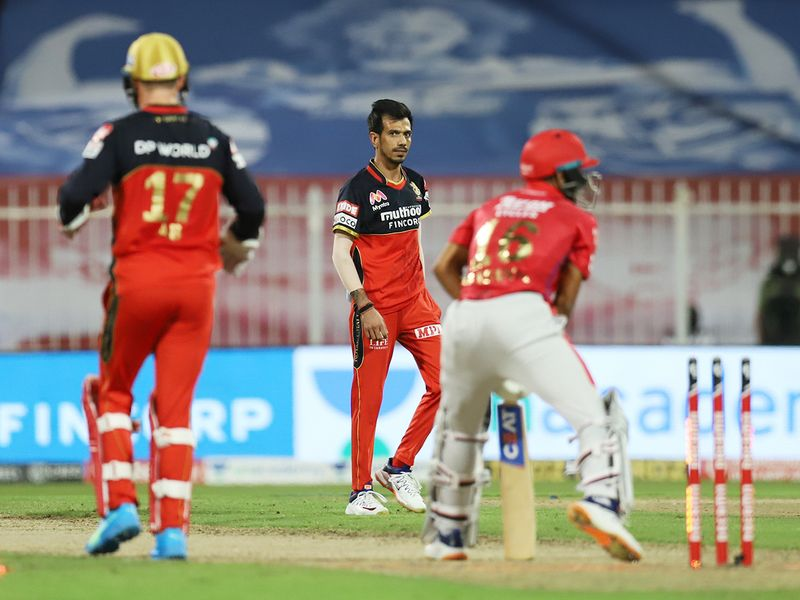 Mayank Agarwal of Kings XI Punjab is bowled by Yuzvendra Chahal
