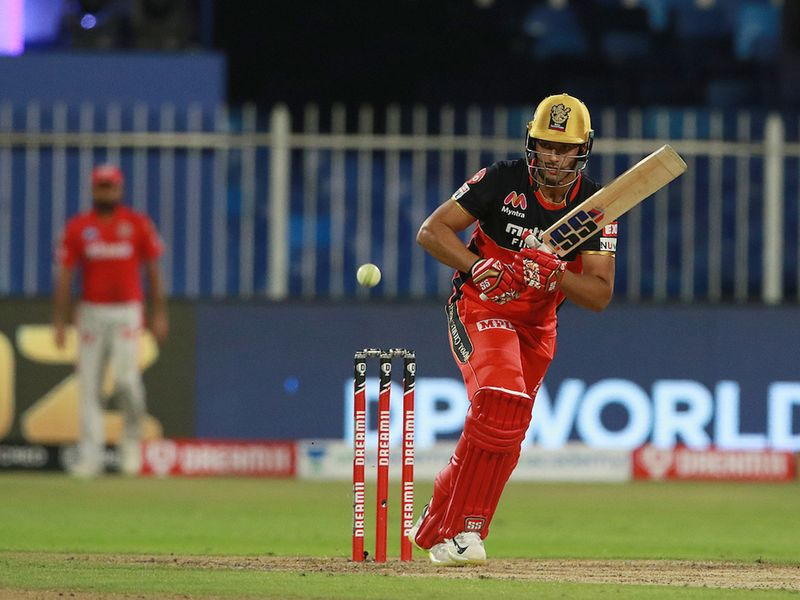 Shivam Dube of Royal Challengers Bangalore plays a shot during match 31 of season 13 of the Indian Premier League (IPL ) between the Royal Challengers Bangalore and the Kings XI Punjab held at the Sharjah Cricket Stadium, Sharjah in the United Arab Emirates on the 15th October 2020. Photo by: Rahul Gulati / Sportzpics for BCCI