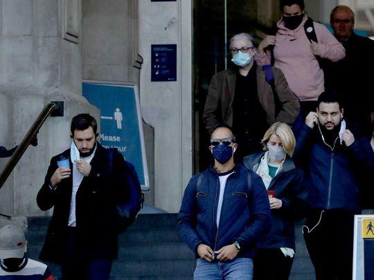 Waterloo railway station London UK mask