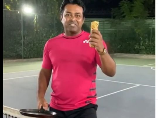 Leander Paes takes part in Nick Kyrgios' #NoMessChallenge