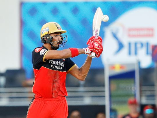 Devdutt Padikkal of Royal Challengers Bangalore plays a shot.