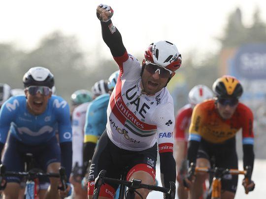 Diego Ulissi celebrates his stage win on the Giro