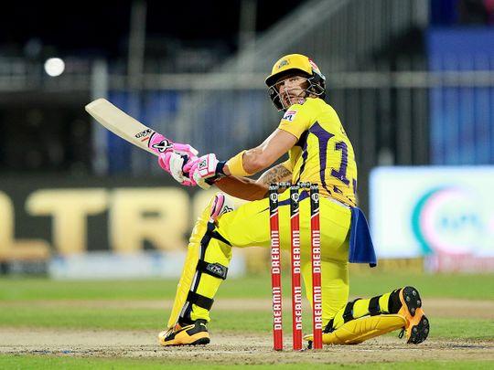 Faf du Plessis of Chennai Superkings plays a shot.