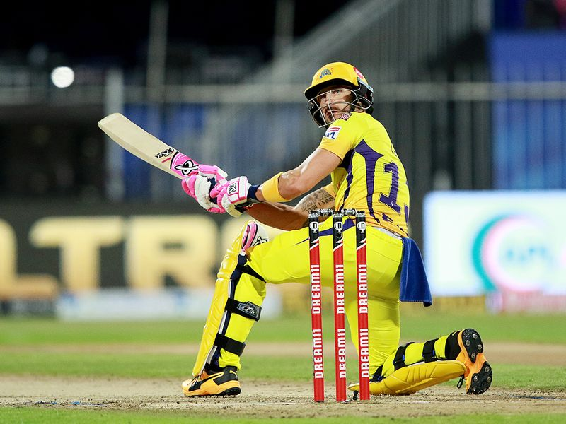 Faf du Plessis of Chennai Superkings plays a shot.