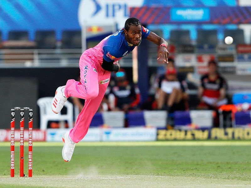 Jofra Archer of Rajasthan Royals bowls during the match.
