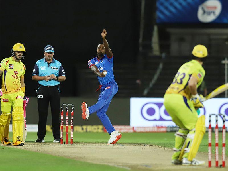 Kagiso Rabada of Delhi Capitals bowls during the match.