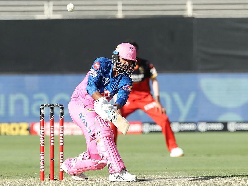 Rahul Tewatia of Rajasthan Royals plays a shot.