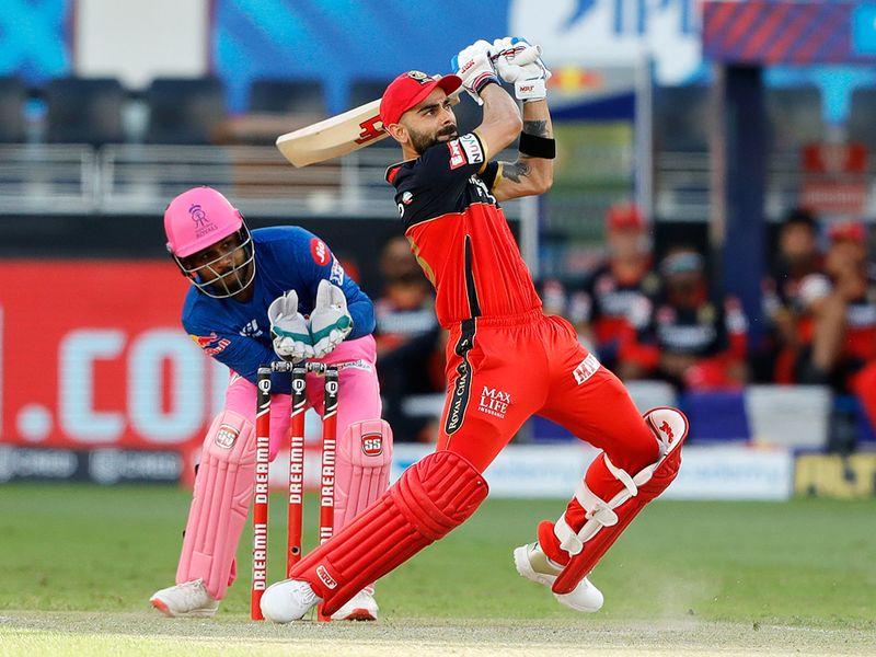 Royal Challengers Bangalore skipper Virat Kohli hits a six.