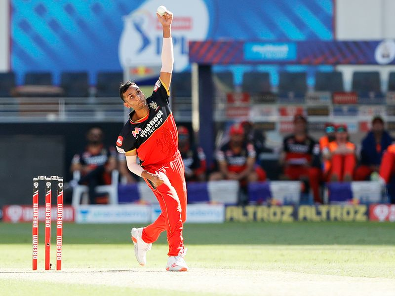 Shahbaz Ahamad of Royal Challengers Bangalore bowls during the match.
