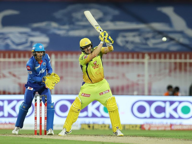 Shane Watson of Chennai Superkings plays a shot.