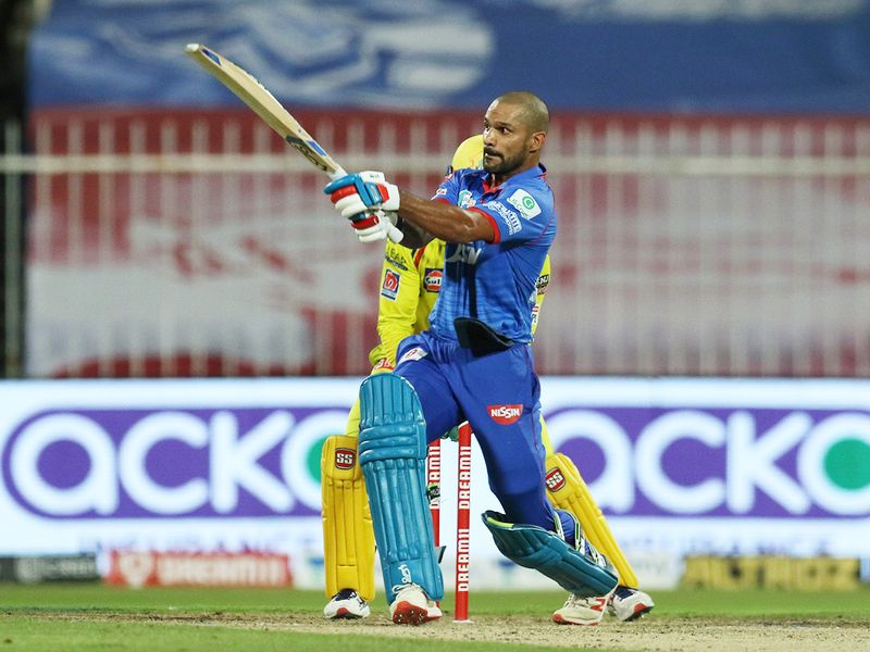 Shikhar Dhawan of Delhi Capitals plays a shot.