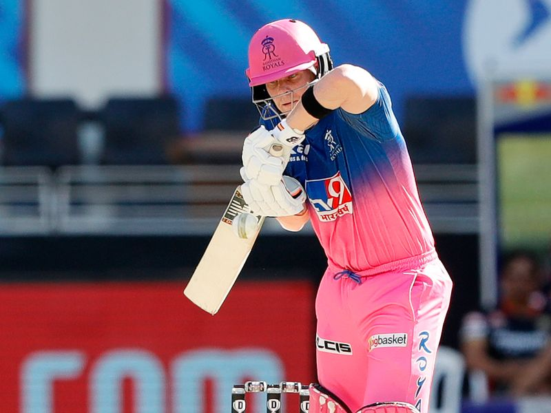Steve Smith, captain of Rajasthan Royals, bats during the match.