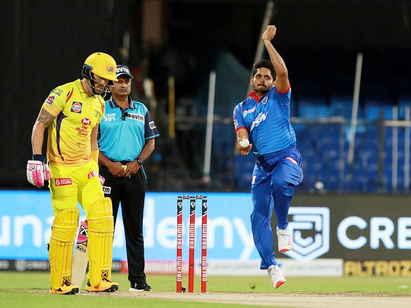 Tushar Deshpande of Delhi Capitals bowls during the match.