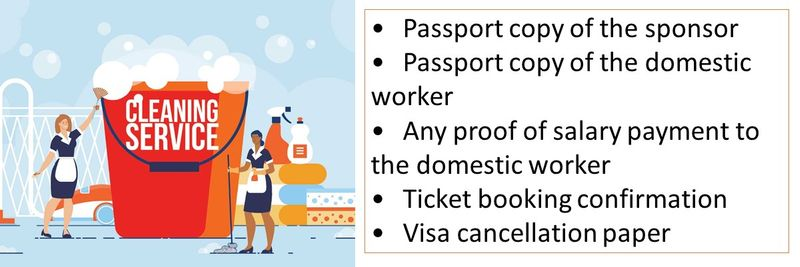 •Passport copy of the sponsor •Passport copy of the domestic worker •Any proof of salary payment to the domestic worker •Ticket booking confirmation •Visa cancellation paper