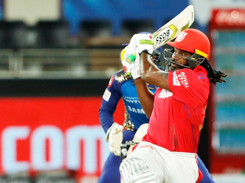 Chris Gayle of Kings XI Punjab plays a shot.