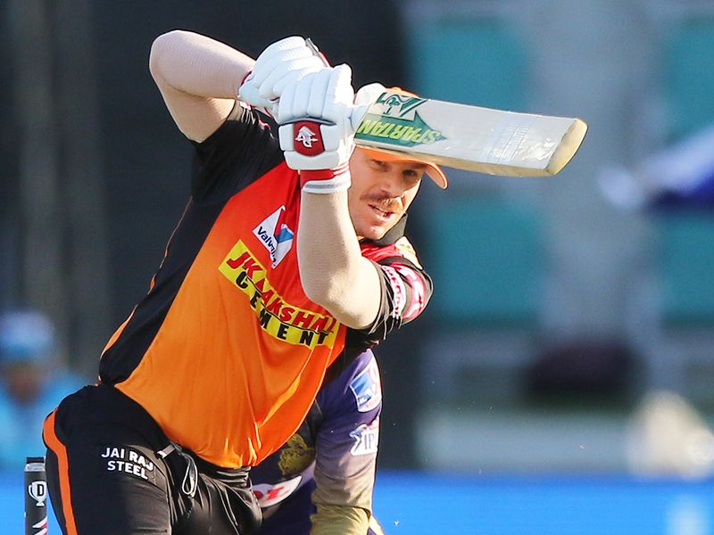 David Warner of Sunrisers Hyderabad plays a shot.