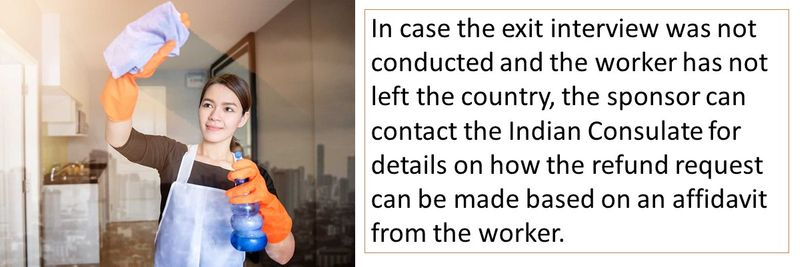 In case the exit interview was not conducted and the worker has not left the country, the sponsor can contact the Indian Consulate for details on how the refund request can be made based on an affidavit from the worker.