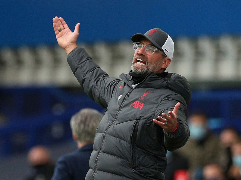 Liverpool boss Jurgen Klopp is incensed during the match against Everton.