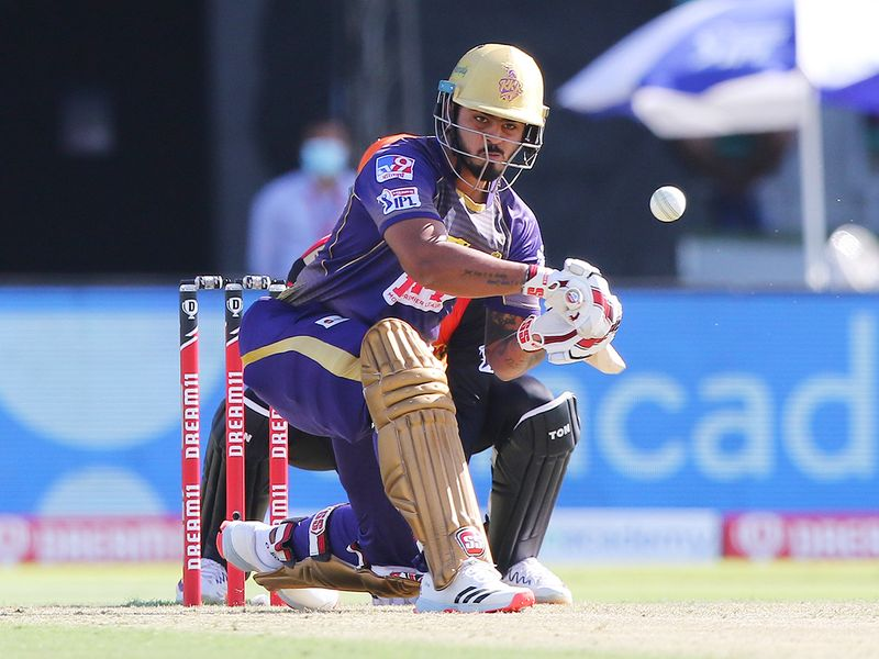 Nitish Rana of Kolkata Knight Riders plays a shot.