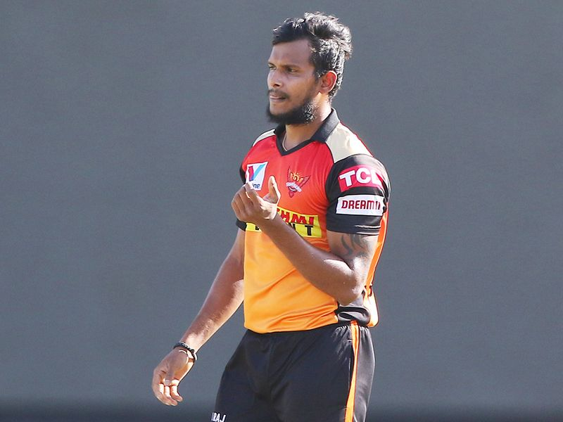 T Natarajan of Sunrisers Hyderabad celebrates