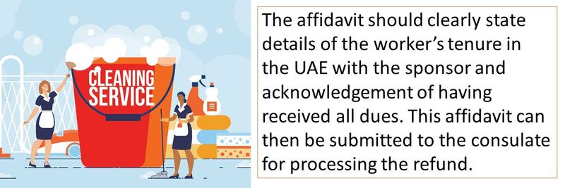 The affidavit should clearly state details of the worker's tenure in the UAE with the sponsor and acknowledgement of having received all dues.