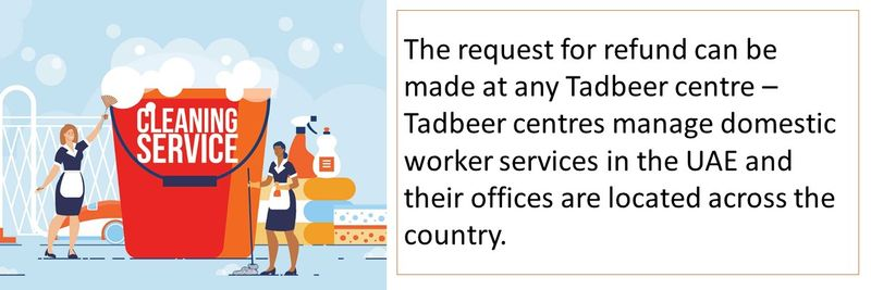 The request for refund can be made at any Tadbeer centre.