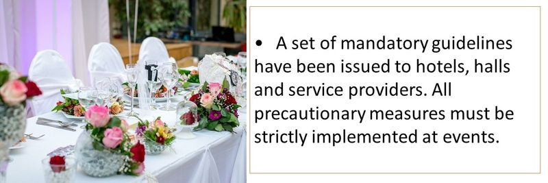 •A set of mandatory guidelines have been issued to hotels, halls and service providers. All precautionary measures must be strictly implemented at events.