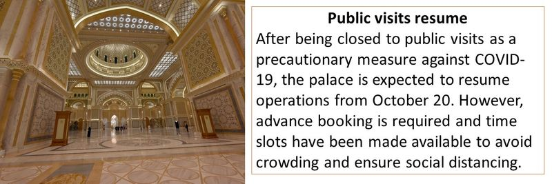 After being closed to public visits as a precautionary measure against COVID-19, the palace is expected to resume operations from October 20.