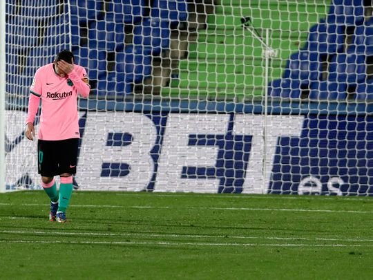 Barcelona's Lionel Messi after the loss to Getafe