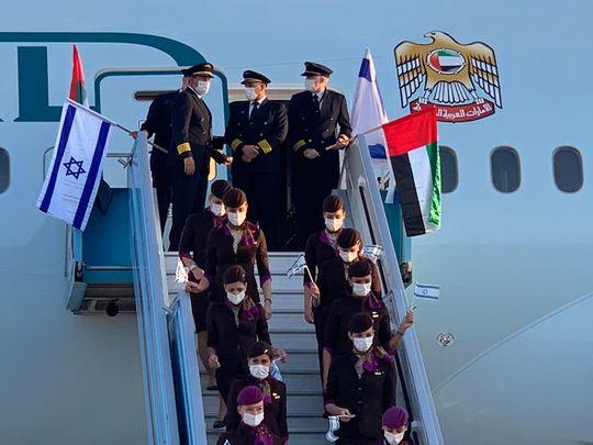 Historic flight: UAE's Etihad crew at Israel's Ben Gurion Airport