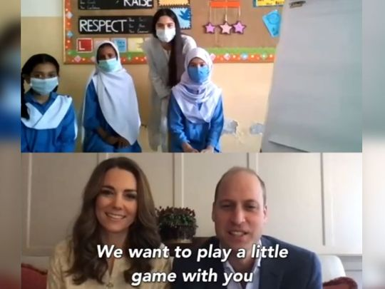 Prince William and Kate Middleton play virtual Pictionary with Pakistani students