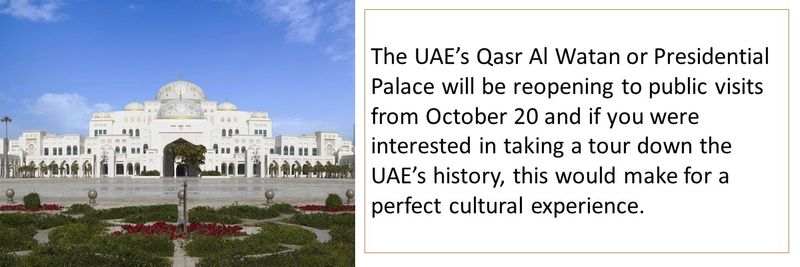 The UAE's Qasr Al Watan or Presidential Palace will be reopening to public visits from October 20.