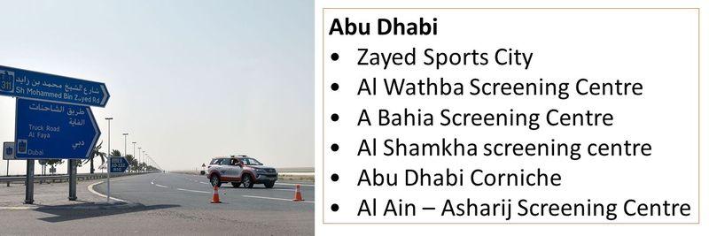 •Zayed Sports City •Al Wathba Screening Centre •A Bahia Screening Centre •Al Shamkha screening centre •Abu Dhabi Corniche •Al Ain – Asharij Screening Centre