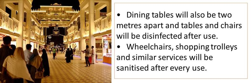 •Dining tables will also be two metres apart and tables and chairs will be disinfected after use. •Wheelchairs, shopping trolleys and similar services will be sanitised after every use.