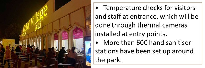 •Temperature checks for visitors and staff at entrance, which will be done through thermal cameras installed at entry points. •More than 600 hand sanitiser stations have been set up around the park.