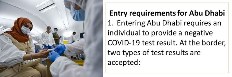 1. Entering Abu Dhabi requires an individual to provide a negative COVID-19 test result.