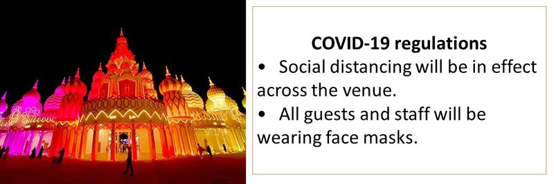 COVID-19 regulations •Social distancing will be in effect across the venue. •All guests and staff will be wearing face masks.